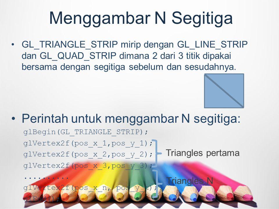 Menggambar N Segitiga Perintah untuk menggambar N segitiga: