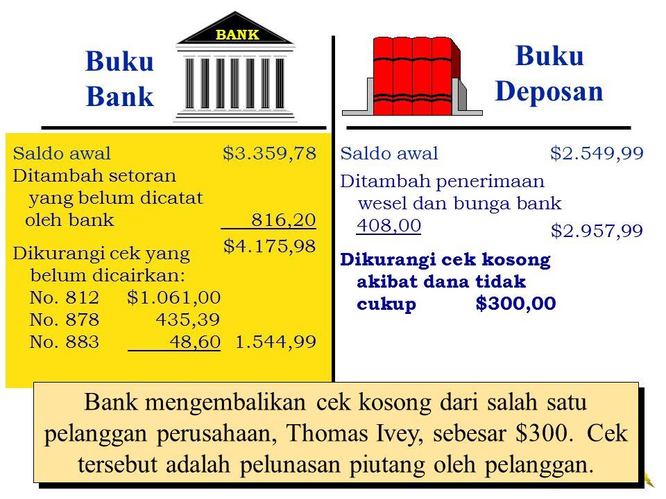 BANK Buku Deposan. Buku Bank. Saldo awal $3.359,78. Saldo awal $2.549,99. Ditambah setoran. yang belum dicatat.
