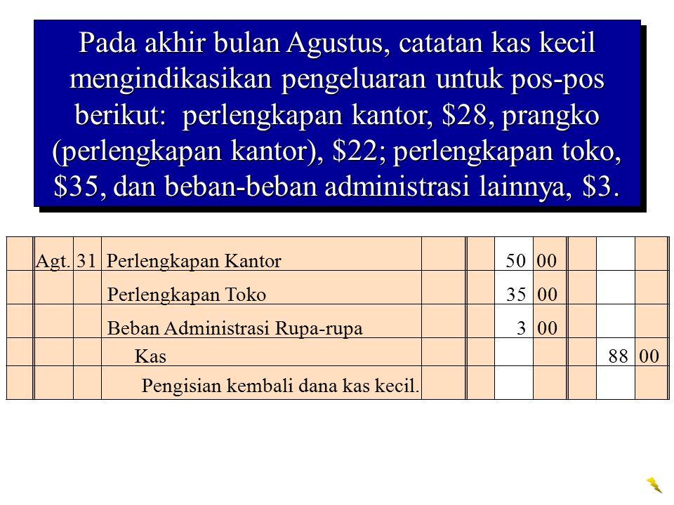 Pada akhir bulan Agustus, catatan kas kecil mengindikasikan pengeluaran untuk pos-pos berikut: perlengkapan kantor, $28, prangko (perlengkapan kantor), $22; perlengkapan toko, $35, dan beban-beban administrasi lainnya, $3.