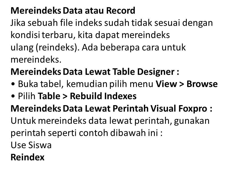 Mereindeks Data atau Record