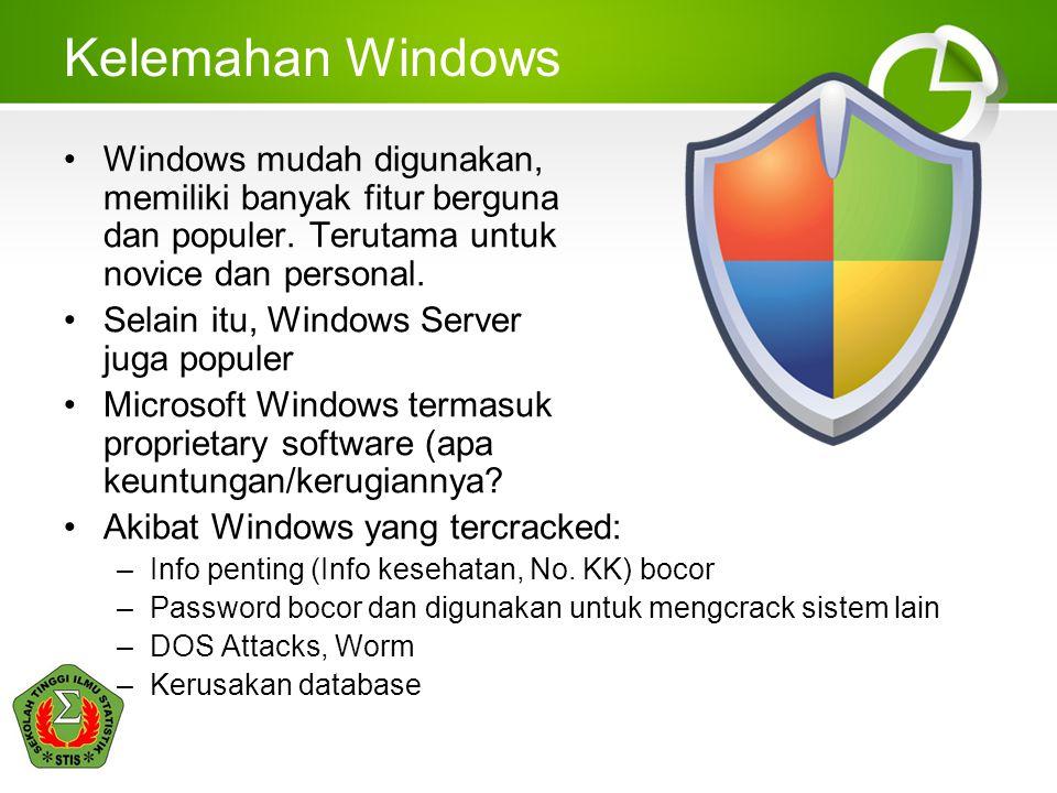 Kelemahan Windows Windows mudah digunakan, memiliki banyak fitur berguna dan populer. Terutama untuk novice dan personal.