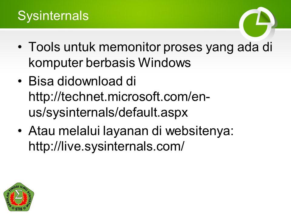 Sysinternals Tools untuk memonitor proses yang ada di komputer berbasis Windows.