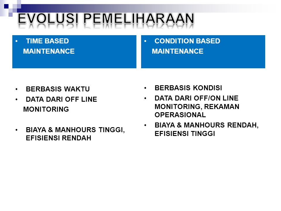 EVOLUSI PEMELIHARAAN TIME BASED MAINTENANCE CONDITION BASED