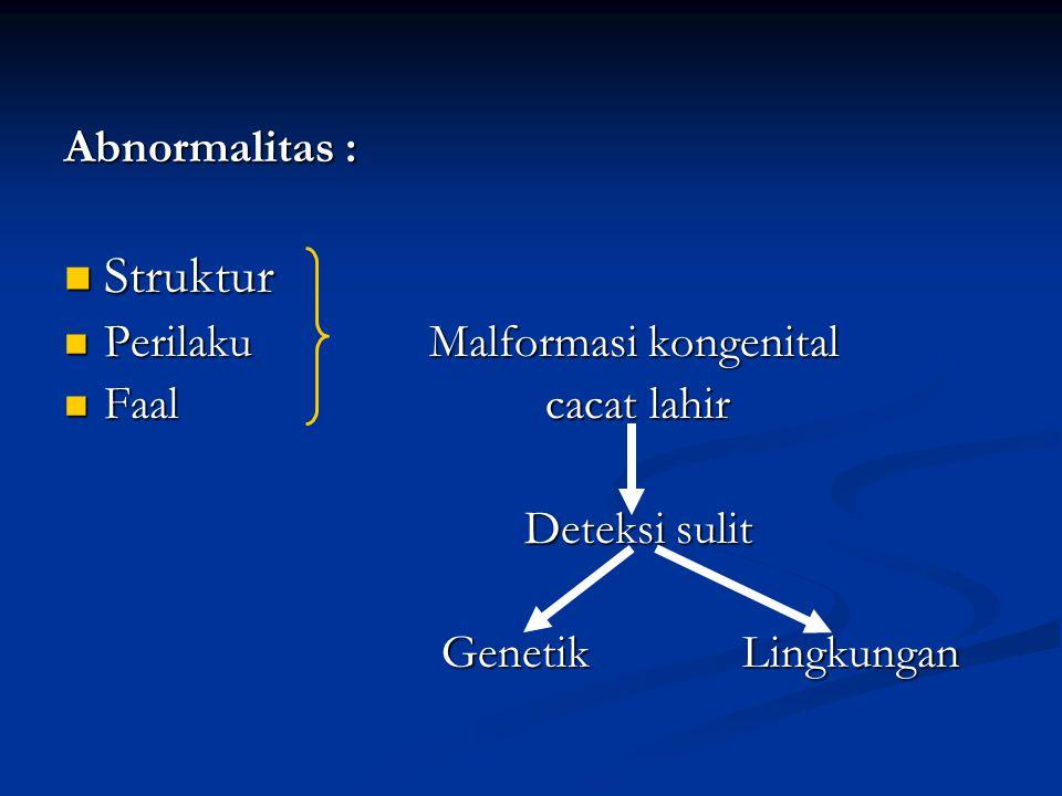 Struktur Abnormalitas : Perilaku Malformasi kongenital
