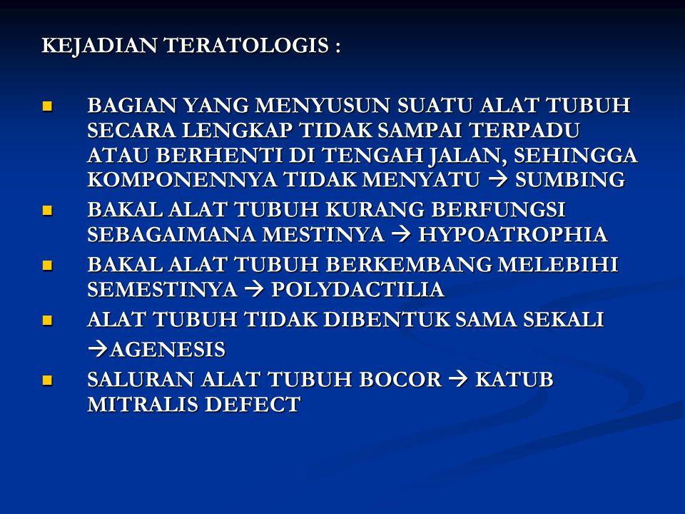 KEJADIAN TERATOLOGIS :