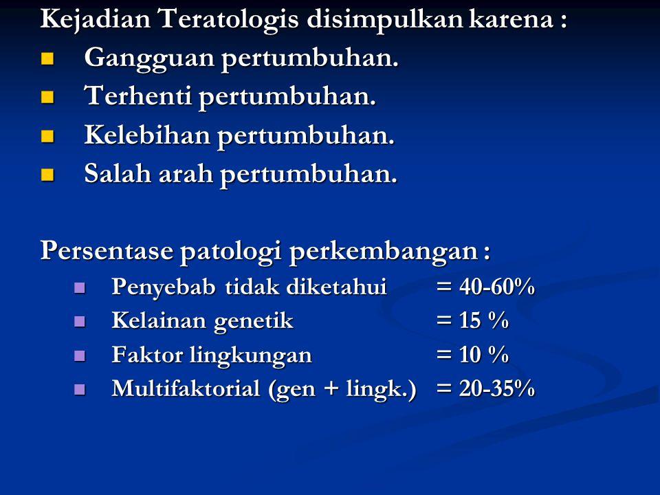 Kejadian Teratologis disimpulkan karena : Gangguan pertumbuhan.