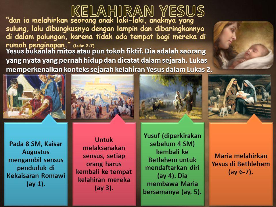 Maria melahirkan Yesus di Bethlehem (ay 6-7).
