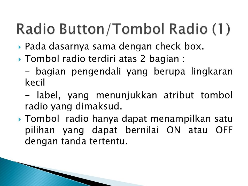 Radio Button/Tombol Radio (1)