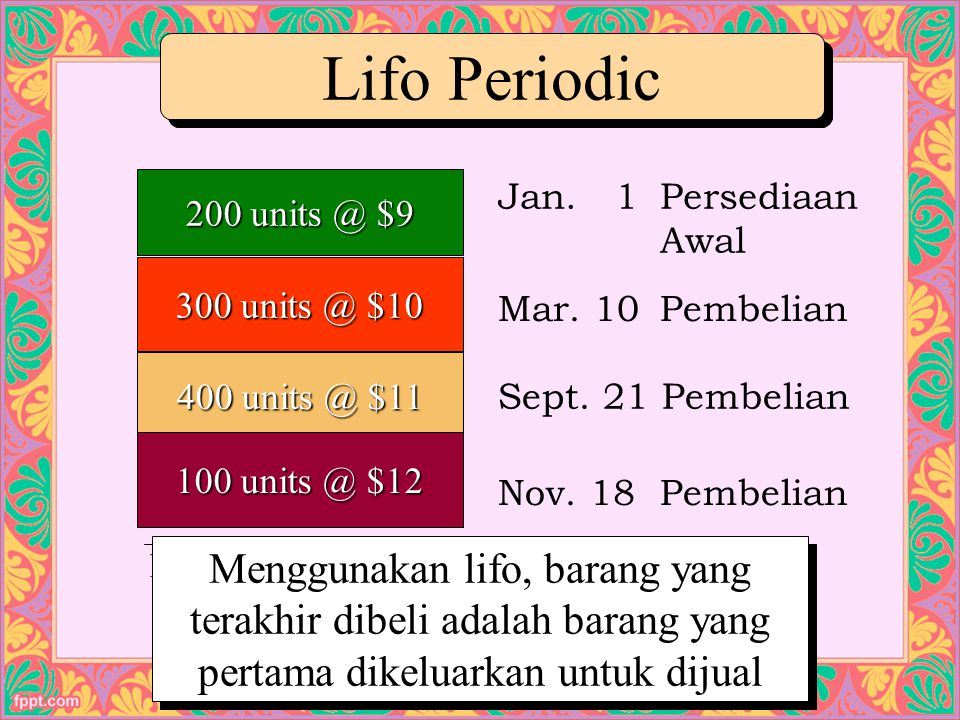 Lifo Periodic 200 units @ $9. Jan. 1 Persediaan Awal. 300 units @ $10. Mar. 10 Pembelian. 400 units @ $11.