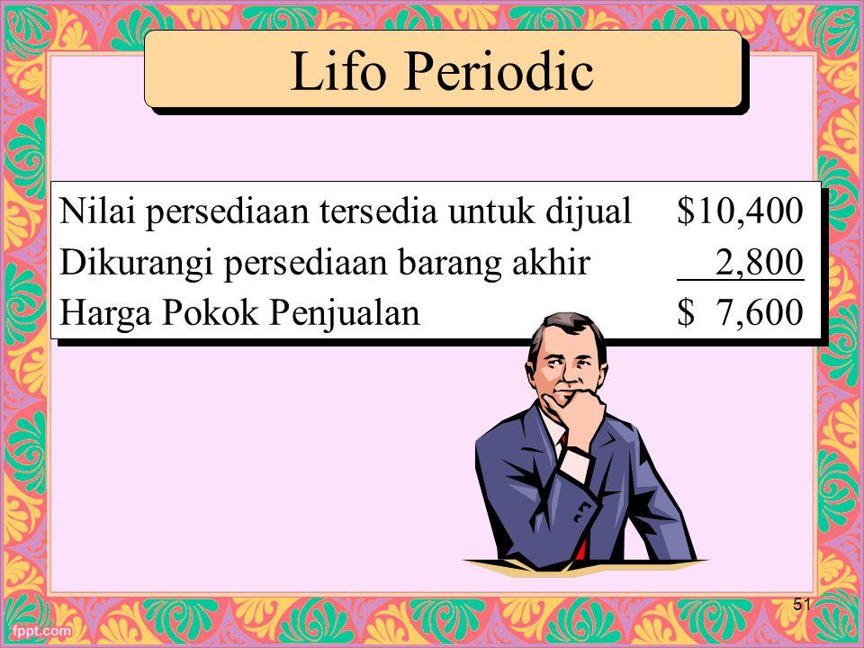 Lifo Periodic Nilai persediaan tersedia untuk dijual $10,400