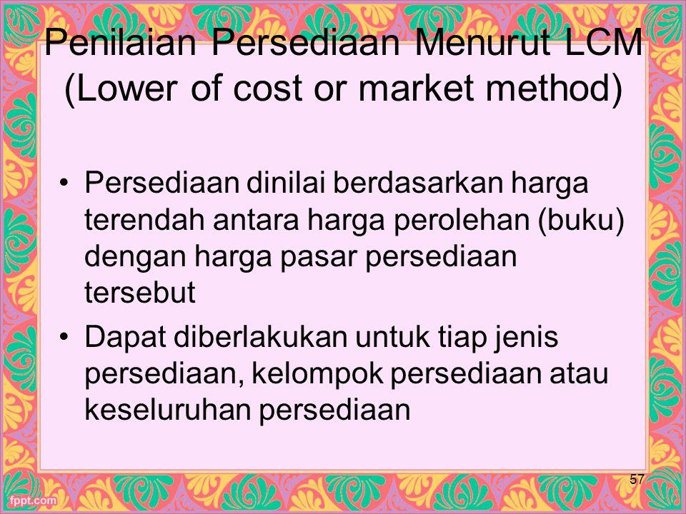 Penilaian Persediaan Menurut LCM (Lower of cost or market method)