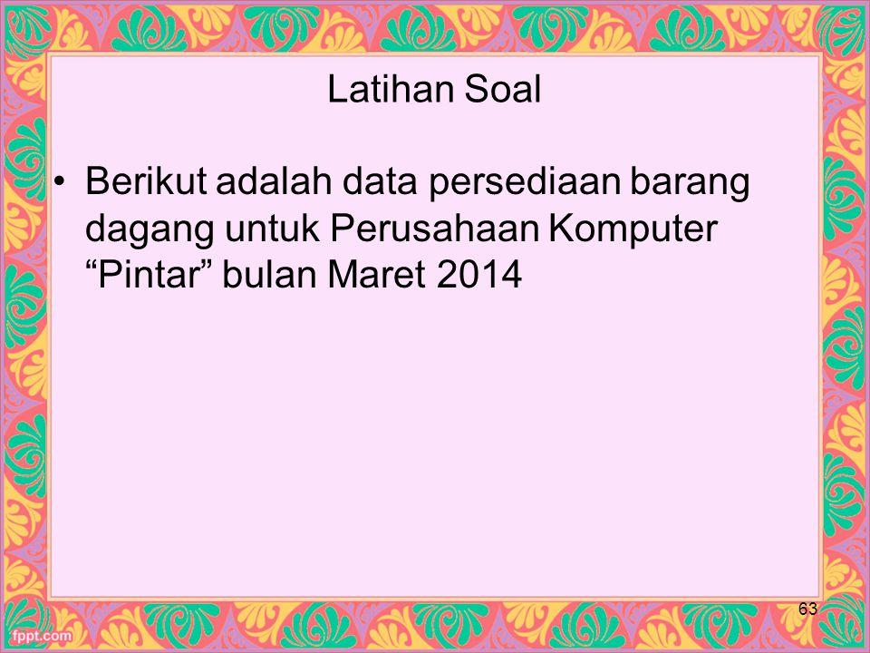Latihan Soal Berikut adalah data persediaan barang dagang untuk Perusahaan Komputer Pintar bulan Maret 2014.