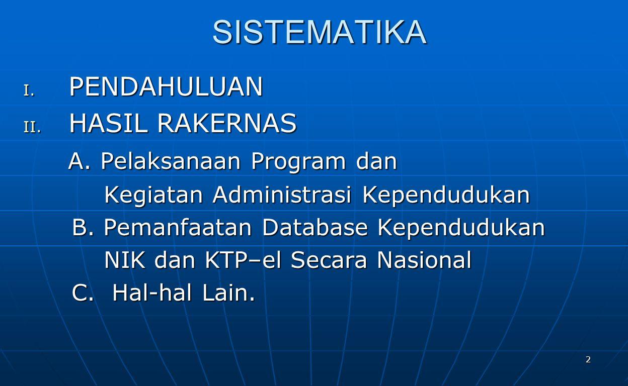 SISTEMATIKA PENDAHULUAN HASIL RAKERNAS A. Pelaksanaan Program dan