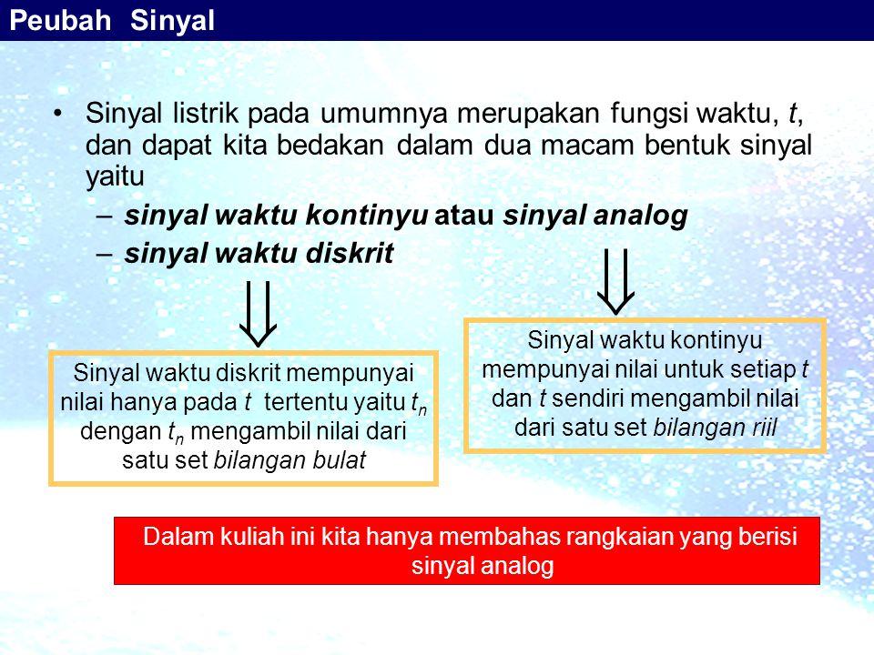 Peubah Sinyal Sinyal listrik pada umumnya merupakan fungsi waktu, t, dan dapat kita bedakan dalam dua macam bentuk sinyal yaitu.
