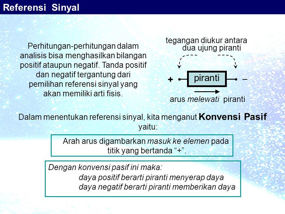 Referensi Sinyal piranti  + tegangan diukur antara dua ujung piranti