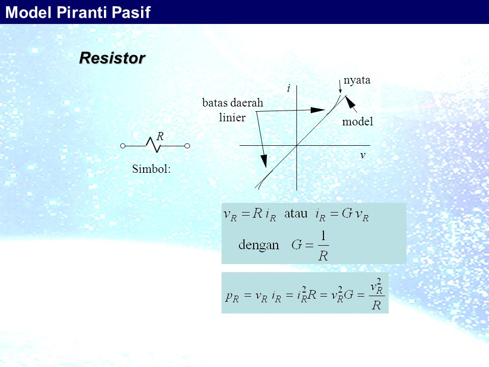 Model Piranti Pasif Resistor nyata i batas daerah linier model R v
