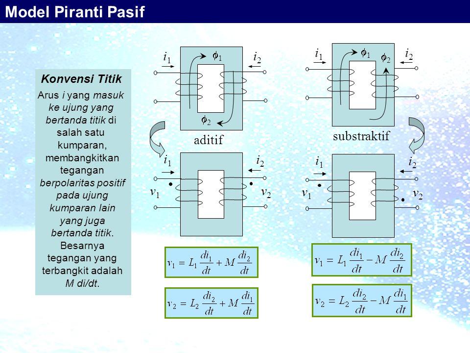 Model Piranti Pasif substraktif i1 i2 aditif i1 i2 i1 i2 v1 v2 i1 i2