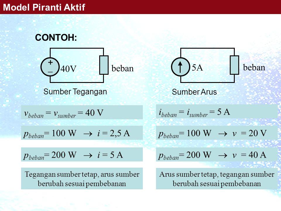 Model Piranti Aktif CONTOH: +  40V beban 5A beban