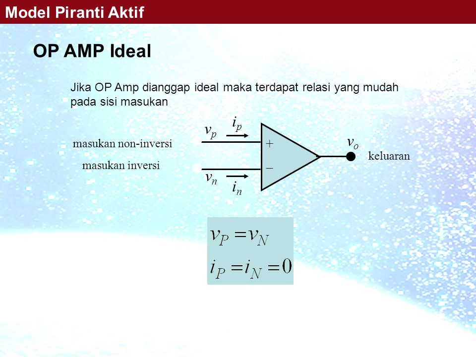 +  OP AMP Ideal Model Piranti Aktif ip vp vo vn in