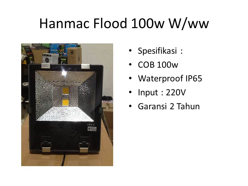 Hanmac Flood 100w W/ww Spesifikasi : COB 100w Waterproof IP65