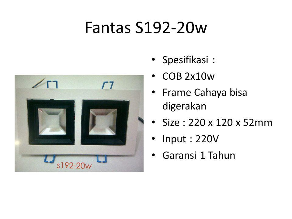 Fantas S192-20w Spesifikasi : COB 2x10w Frame Cahaya bisa digerakan