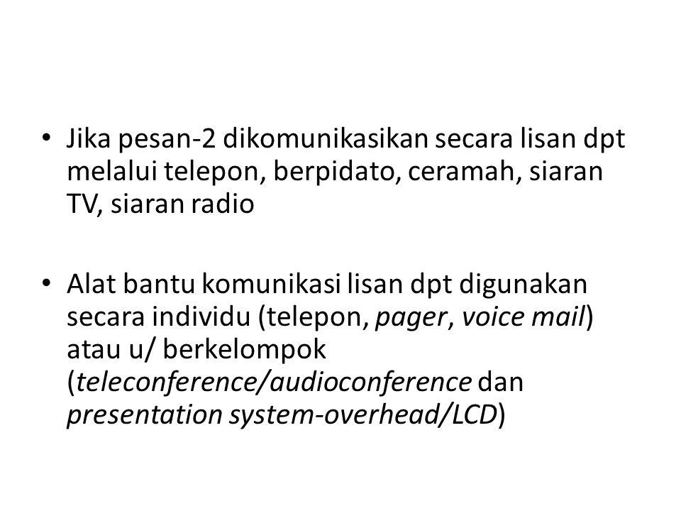Jika pesan-2 dikomunikasikan secara lisan dpt melalui telepon, berpidato, ceramah, siaran TV, siaran radio