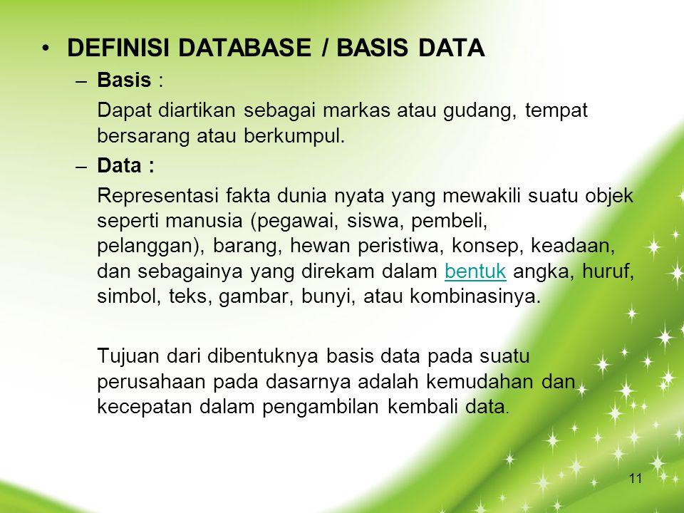 DEFINISI DATABASE / BASIS DATA