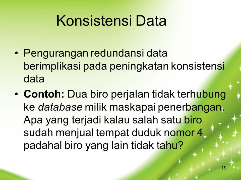 Konsistensi Data Pengurangan redundansi data berimplikasi pada peningkatan konsistensi data.