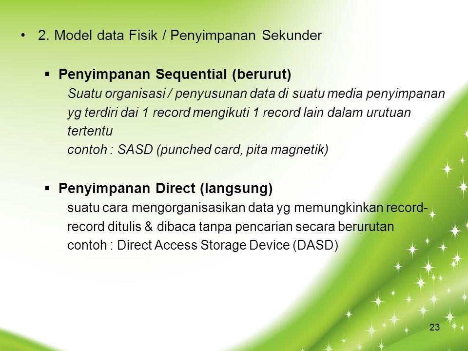 2. Model data Fisik / Penyimpanan Sekunder