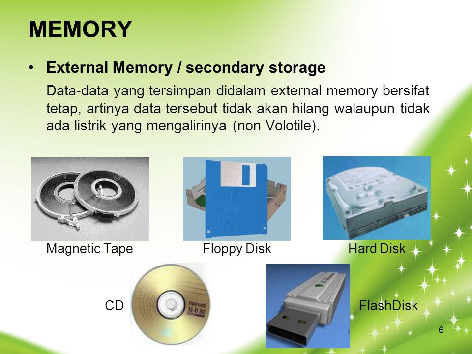 MEMORY External Memory / secondary storage