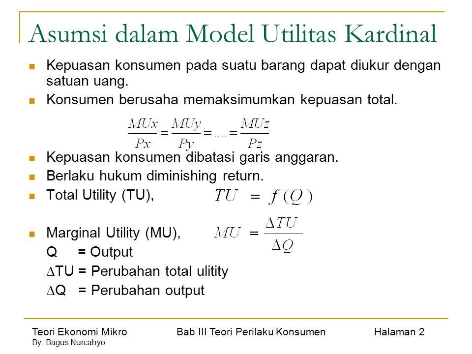 Asumsi dalam Model Utilitas Kardinal