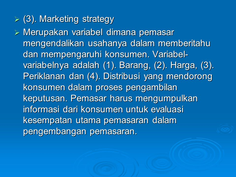 (3). Marketing strategy