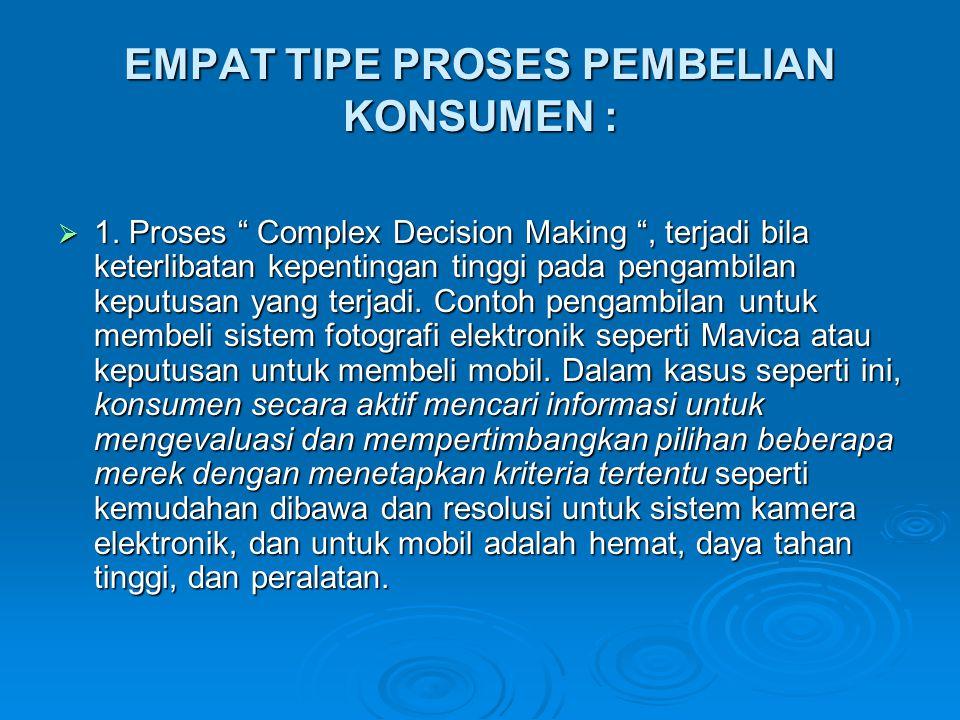 EMPAT TIPE PROSES PEMBELIAN KONSUMEN :