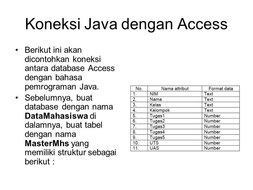 Koneksi Java dengan Access