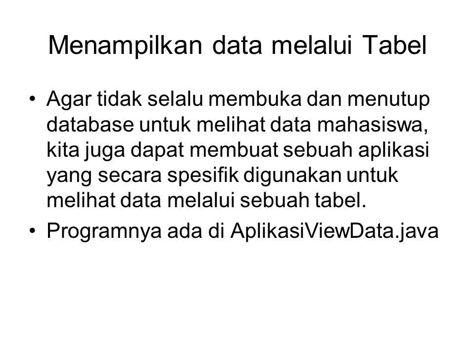 Menampilkan data melalui Tabel