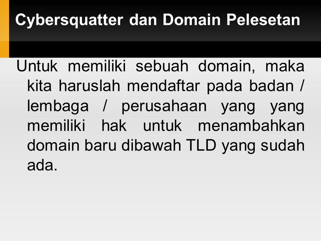 Cybersquatter dan Domain Pelesetan