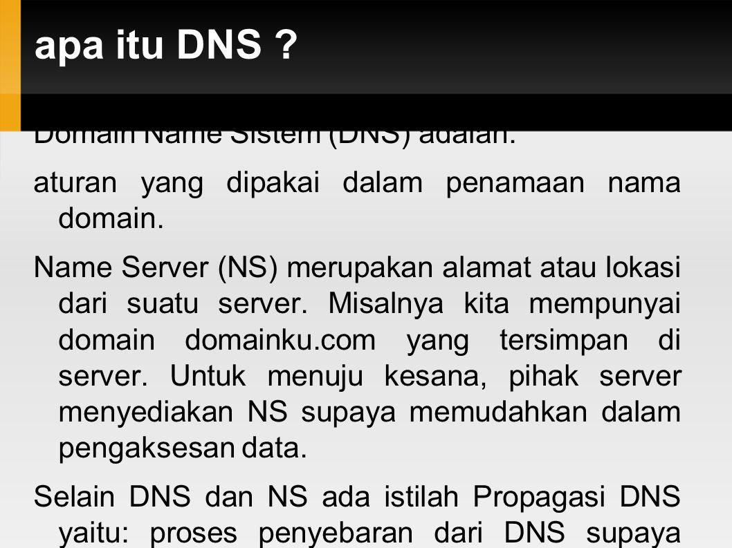 apa itu DNS Domain Name Sistem (DNS) adalah: