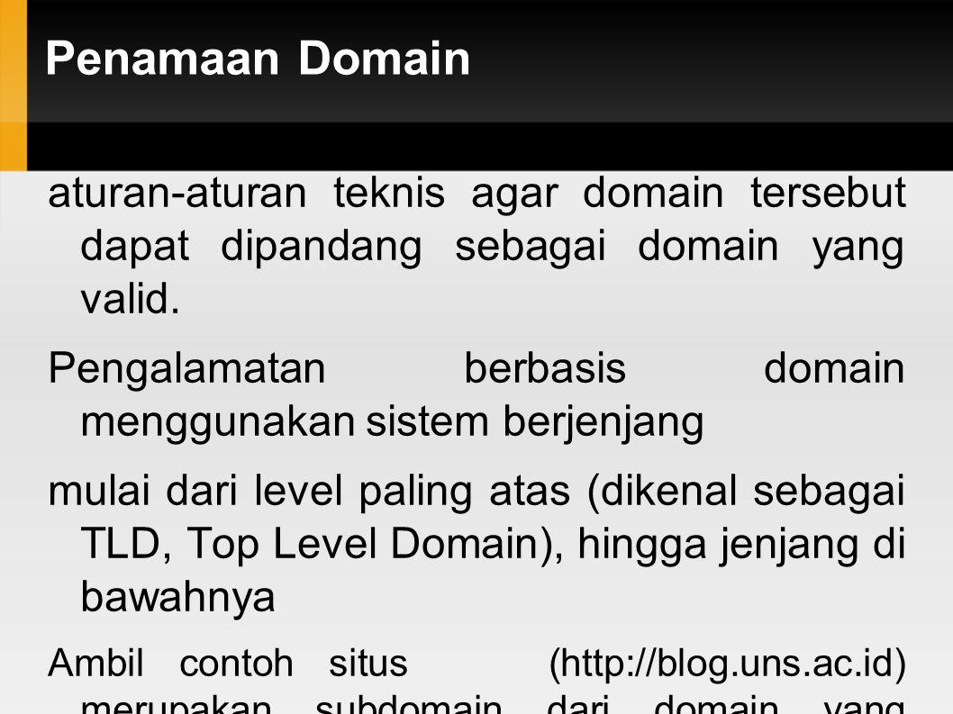 Penamaan Domain aturan-aturan teknis agar domain tersebut dapat dipandang sebagai domain yang valid.