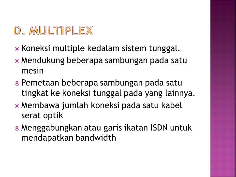 D. Multiplex Koneksi multiple kedalam sistem tunggal.
