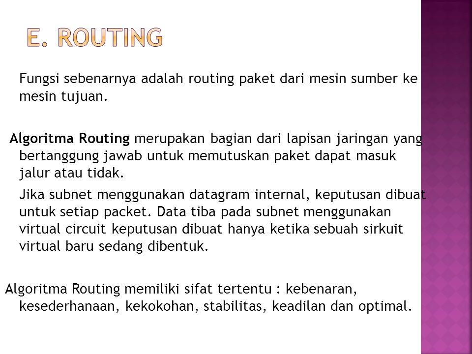 E. Routing Fungsi sebenarnya adalah routing paket dari mesin sumber ke mesin tujuan.