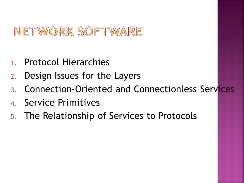 Network Software Protocol Hierarchies Design Issues for the Layers