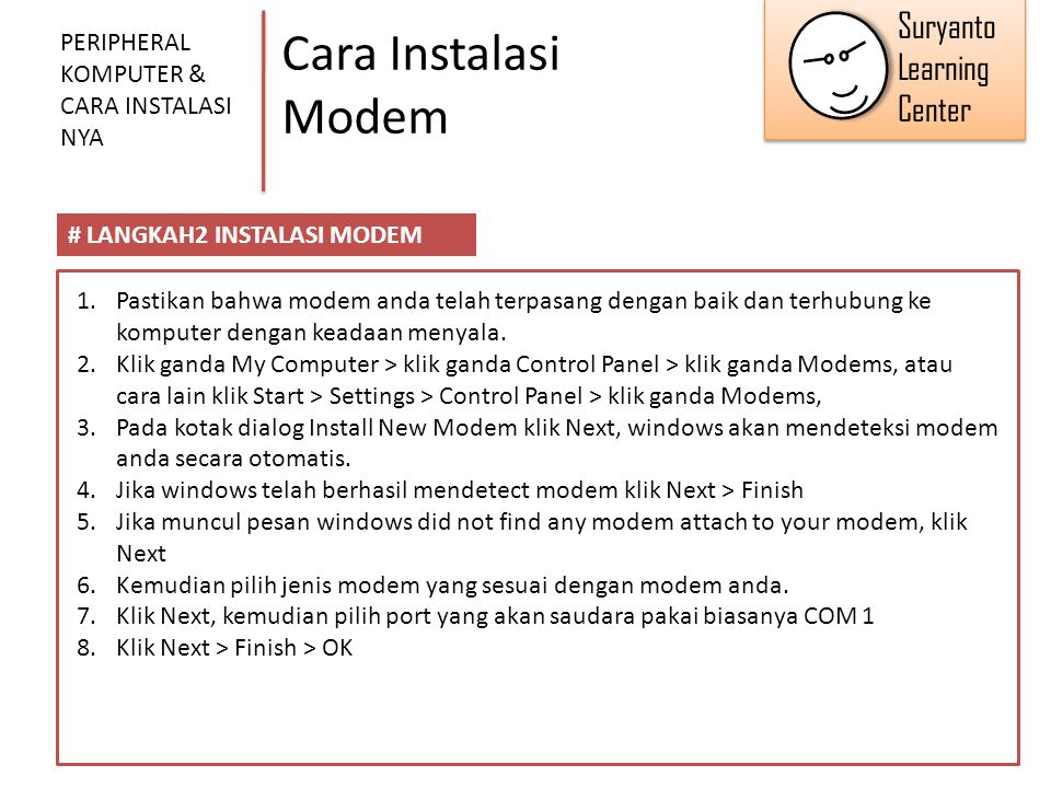 Cara Instalasi Modem Suryanto Learning Center
