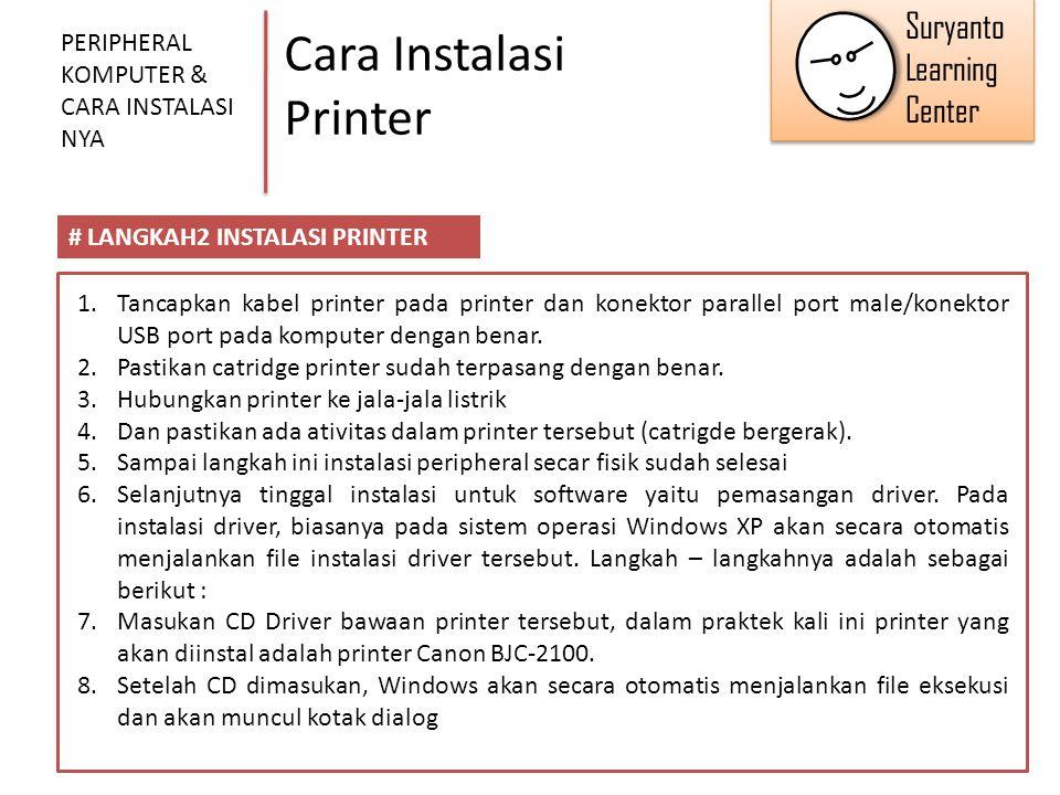 Cara Instalasi Printer