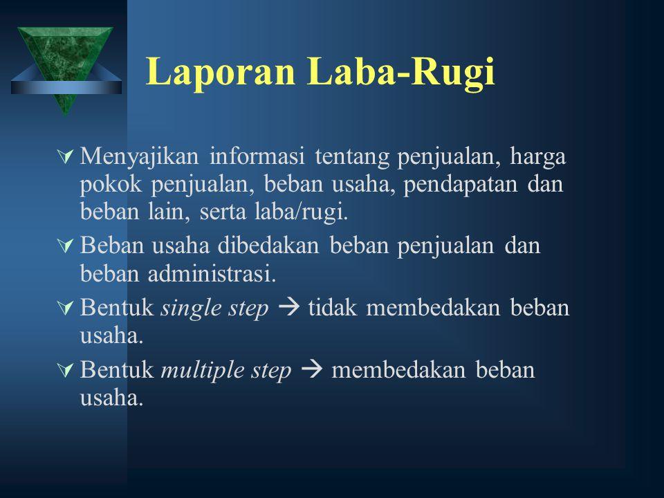 Laporan Laba-Rugi Menyajikan informasi tentang penjualan, harga pokok penjualan, beban usaha, pendapatan dan beban lain, serta laba/rugi.