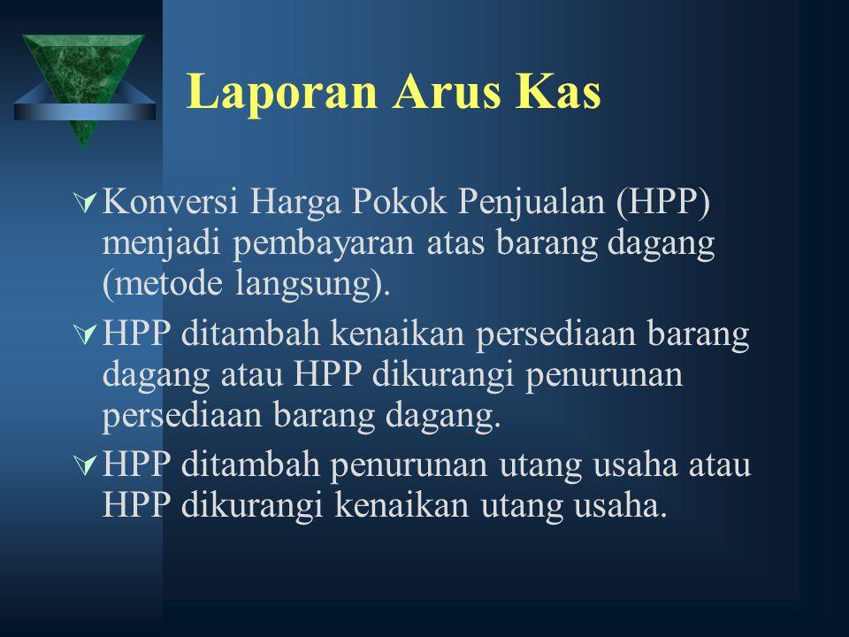 Laporan Arus Kas Konversi Harga Pokok Penjualan (HPP) menjadi pembayaran atas barang dagang (metode langsung).