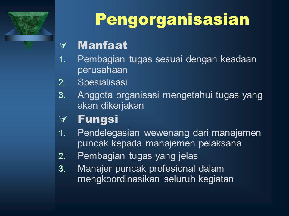 Pengorganisasian Manfaat Fungsi