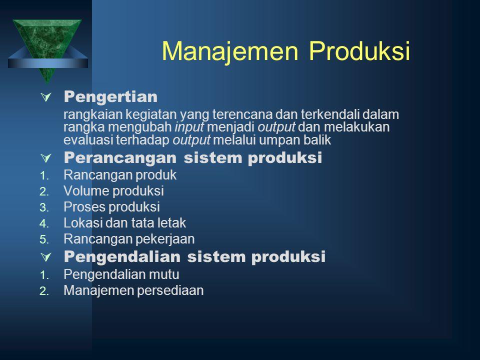 Manajemen Produksi Pengertian Perancangan sistem produksi
