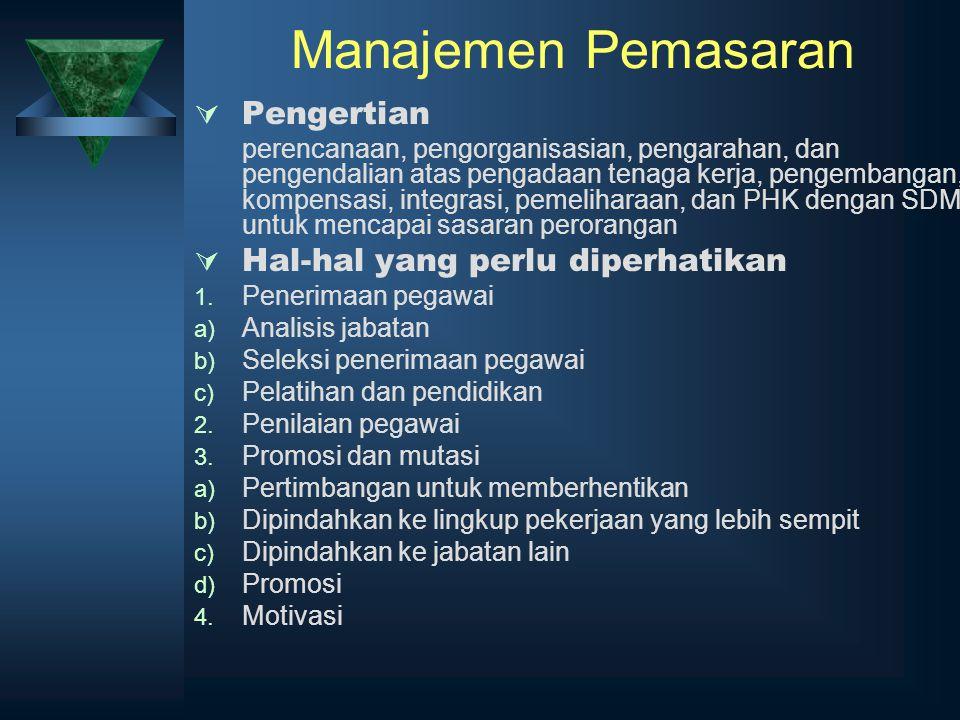 Manajemen Pemasaran Pengertian Hal-hal yang perlu diperhatikan