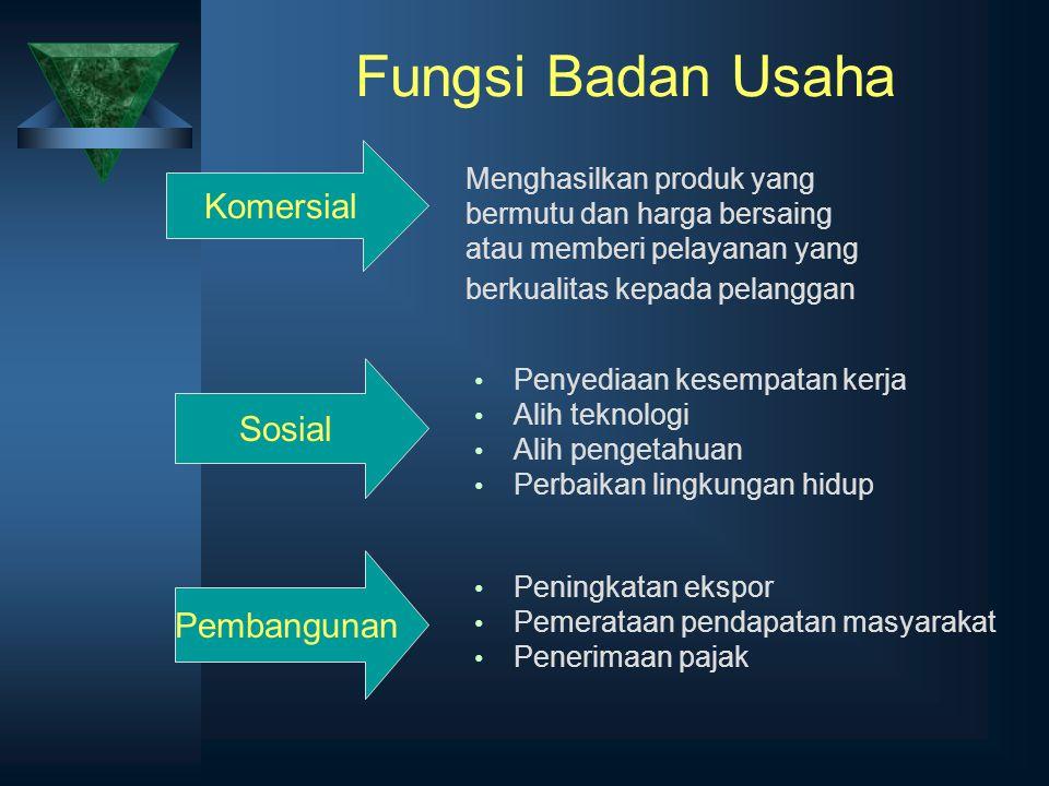 Fungsi Badan Usaha Komersial Sosial Pembangunan