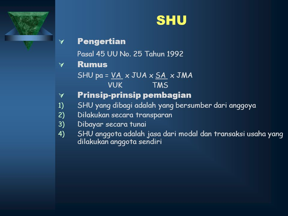 SHU Pasal 45 UU No. 25 Tahun 1992 Pengertian Rumus